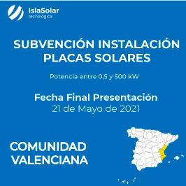 Subvenciones Placas Solares COMUNIDAD VALENCIANA EMPRESAS